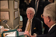 BRIAN SEWELL; THE LORD MAGAN OF CASTLETOWN, Fortnum and Mason and Quartet books host a celebration for the publication of  The White Umbrella by Brian Sewell. Illustrated by Sally Ann Lasson. Fortnum and Mason. Piccadilly. London. 3 March 2015.
