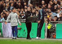 Football - 2019 EFL League Cup Final (Carabao Cup) - Manchester City vs. Chelsea<br /> <br /> Chelsea manager Maurizio Sarri shouts at the fourth official over the confusion of substitute keeper, Willy Caballero who was waiting to come on for, Kepa Arrizabalaga before Kepa refused to come off at Wembley Stadium.<br /> <br /> COLORSPORT/ANDREW COWIE