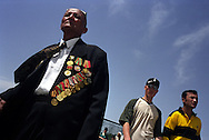 Veteran of World War II, displaying his medals, enjoying the annual Victory Day festivities in Tashkent, Uzbekistan.