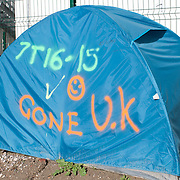 France, Calais. Last days of 'The Jungle'. Tent with 'Gone UK' written on it.