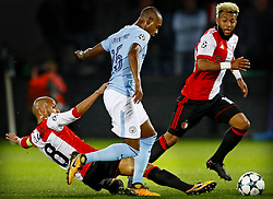 (L-R) Karim el Ahmadi of Feyenoord, Fernandinho of Manchester City, Tonny Vilhena of Feyenoord during the UEFA Champions League group F match between Feyenoord Rotterdam and Manchester City at the Kuip on September 13, 2017 in Rotterdam, The Netherlands