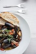 Mussels Renoir at Coriander Restaurant in Middlebury, Vermont.