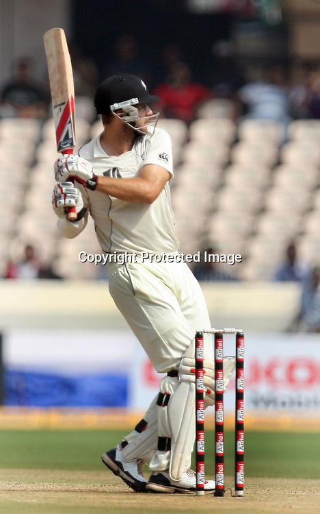 New Zealand Captain Daniel Vettori Hit The Shot During The 2nd Test Match India vs New Zealand Played at Rajiv Gandhi International Stadium, Uppal, Hyderabad 13, November 2010 (5-day match)