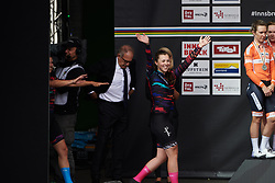 Lisa Klein (GER) waves to the crowds at UCI Road World Championships 2018 - Women's Team Time Trial, a 54 km team time trial in Innsbruck, Austria on September 23, 2018. Photo by Sean Robinson/velofocus.com