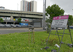 "© Licensed to London News Pictures. 09/07/2012. London, UK A sign warning drivers to ""plan ahead' for their travel plans during the olympic period. The raised section of the M4 can be seen. The M4 motorway today 9th July 2012. The M4 has been closed between junctions 1 and 3 after a crack was found in a 'sensitive area' of an elevated section of the motorway. The M4, part of the Olympic Route Network, will be vital for transporting visitors into the city from Heathrow Airport. Photo credit : Stephen Simpson/LNP"