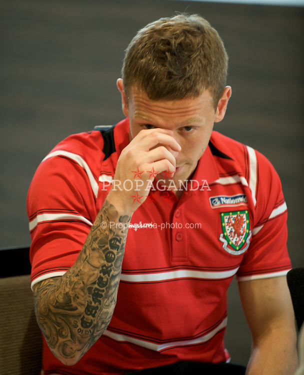 DU?SSELDORF, GERMANY - Tuesday, October 14, 2008: Wales' captain Craig Bellamy during a press conference at the Swissotel Neuss ahead of the 2010 FIFA World Cup South Africa Qualifying Group 4 match against Germany. (Photo by David Rawcliffe/Propaganda)