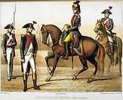 Parisian General Police Legion, created 1795.   'From Histoire des corps de troupes de la ville de Paris' by Francois Cudet, Paris, 1897. Chromolithograph.