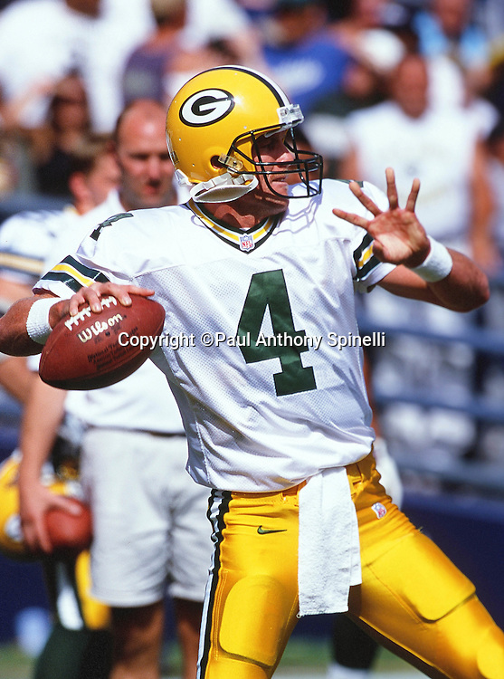 Green Bay Packers quarterback Brett Favre (4) throws a pregame pass during the NFL football game against the San Diego Chargers on Oct. 24, 1999 in San Diego. The Packers won the game 31-3. (©Paul Anthony Spinelli)
