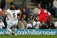 Photo: Paul Thomas.<br /> MK Dons v Swindon Town. Coca Cola League 1.<br /> 01/10/2005.<br /> <br /> Rory Fallon flies through the air to score for Swindon.