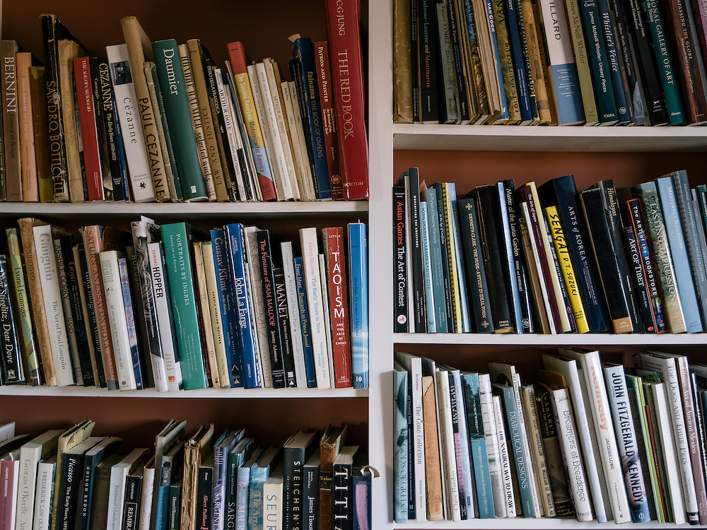 Books fill the shelves at Diane Rehm's home on the 14th floor of a condominium complex in the Glover Park area of Washington, D.C.