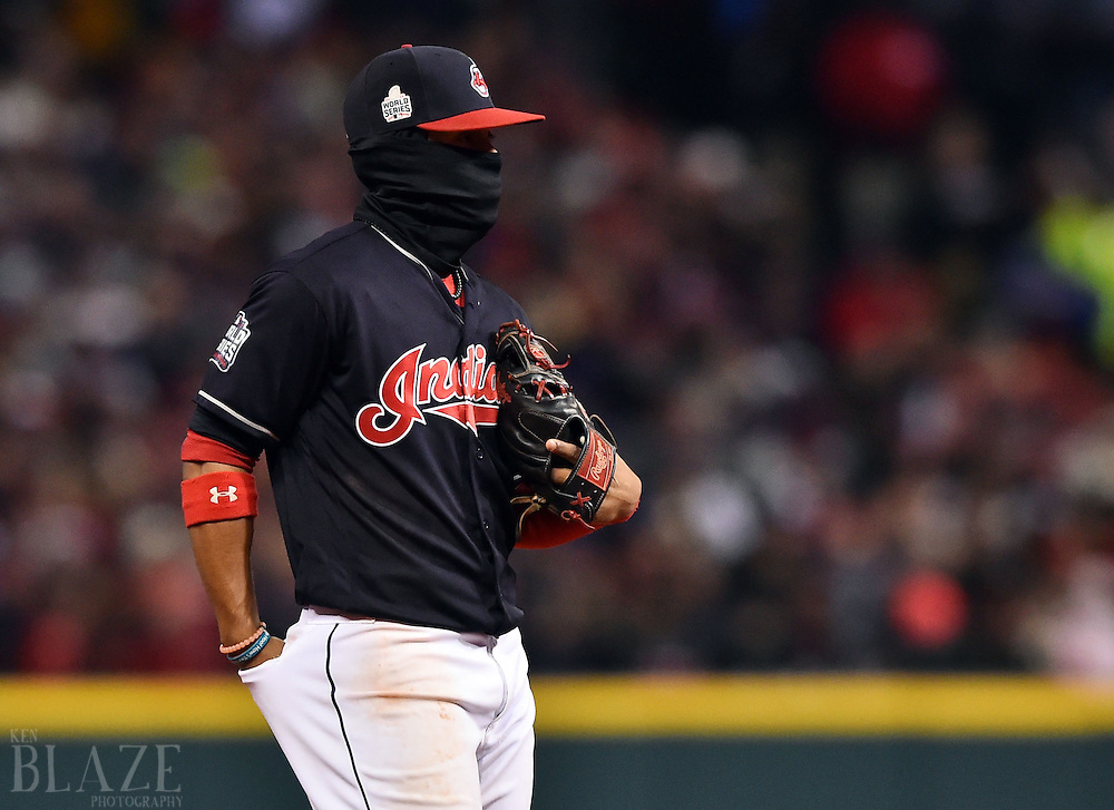 Oct 26, 2016; Cleveland, OH, USA; Cleveland Indians shortstop Francisco Lindor wears a face mask in the fourth inning against the Chicago Cubs in game two of the 2016 World Series at Progressive Field. Mandatory Credit: Ken Blaze-USA TODAY Sports