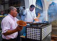 MOULAY IDRISS, MOROCCO - CIRCA APRIL 2017:  Street food seller in the village of Moulay Idriss