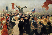 The Demonstration of 17 October 1905':  Crowd reaction to Nicholas II's 'Manifesto on the Improvement of the State Order' which pledged freedom of religion, speech, assembly and association, and the introduction of universal male suffrage. The jubilant marchers are led by Kadets playing French horns. Study by Ilya Repin (1844-1930) Russian Realist artist.