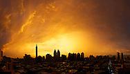 A beautiful sunset over the Taipei, Taiwan skyline.