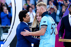 Ben Stokes of England receives his Man of the Match award from Sachin Tendulkar - Mandatory by-line: Robbie Stephenson/JMP - 14/07/2019 - CRICKET - Lords - London, England - England v New Zealand - ICC Cricket World Cup 2019 - Final