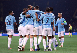 October 23, 2018 - Kharkiv, Ukraine - Players of Manchester City FC celebrate upon midfielder David Silva's scoring during the UEFA Champions League Group F Matchday 3 game against FC Shakhtar Donetsk at the Metalist Stadium Regional Sports Complex, Kharkiv, northeastern Ukraine, October 23, 2018. Ukrinform. (Credit Image: © Danil Shamkin/Ukrinform via ZUMA Wire)