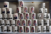 Coffee mugs with the image of Hamas leader and deposed Palestinian prime Minister Ismail Haniya are sandwiched between mugs of Palestinian president Mahmoud Abbas and former Palestinian leader yassir Arafat in a Gaza City souvenir market August 06, 2007 in Gaza. Haniya and Hamas have both been under extreme political pressure from outside Gaza since Hamas' violent takeover of the strip in June..