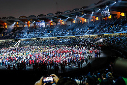 March 21, 2019 - Abu Dhabi, United Arab Emirates - Visitors and athletes attend Closing Ceremony of Special Olympics World Games in Zayed Sports City in Abu Dhabi, United Arab Emirates on March 21, 2019.  Special Olympics is a worldwide organization which organize sports competitions for people with learning difficulties. Summer World Games take place every 4 years. 7500 athletes from nearly 200 countries compete in 24 Olympic Sport disciplines in Abu Dhabi Games in 2019. (Credit Image: © Dominika Zarzycka/NurPhoto via ZUMA Press)