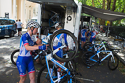 Rozanne Slik (NED) of FDJ Nouvelle Aquitaine Futuroscope Team prepares for the Prudential RideLondon Classique - a 64.8 km road race, starting and finishing in central London on July 28, 2018, in London, United Kingdom. (Photo by Balint Hamvas/Velofocus.com)