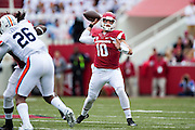 FAYETTEVILLE, AR - OCTOBER 24:  Brandon Allen #10 of the Arkansas Razorbacks throws a pass against the Arkansas Razorbacks at Razorback Stadium Stadium on October 24, 2015 in Fayetteville, Arkansas.  (Photo by Wesley Hitt/Getty Images) *** Local Caption *** Braddon Allen