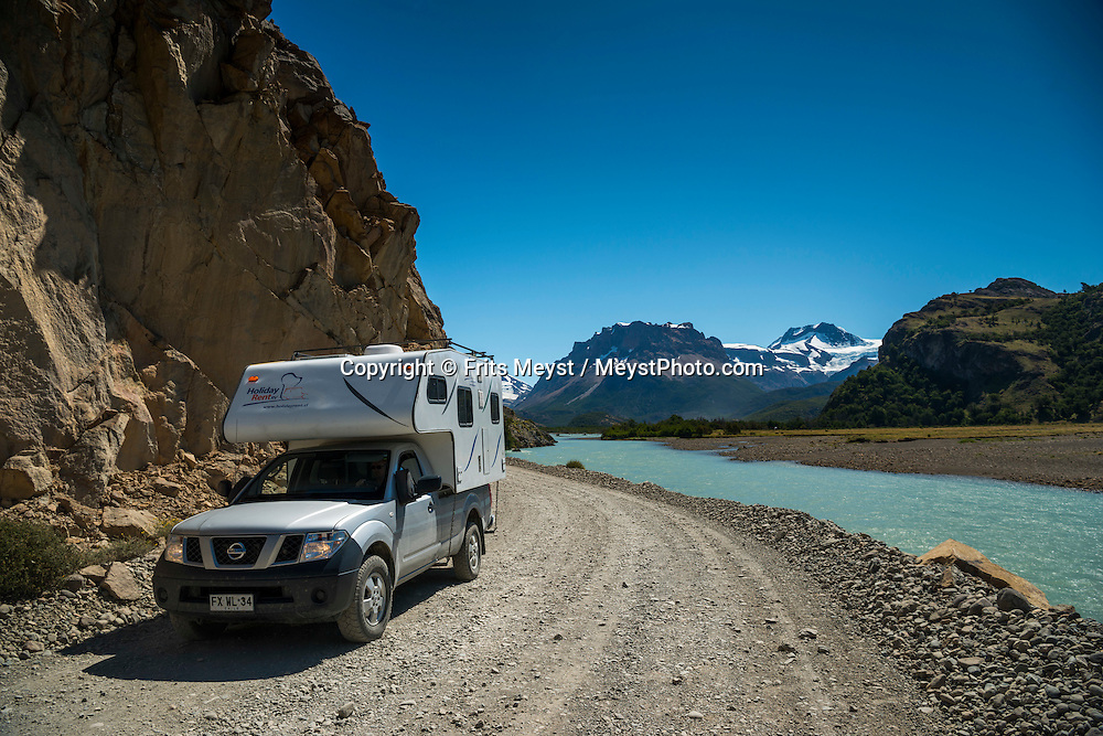 El Chalten, Los Glaciares National Park, Patagonia, Argentina, February 2016. A dirt road leads through a spectacular landscape from El Chalten to Lago Desierto. El Chalten is a good trekking base for Los Glaciares NP. A 4x4 camper is one of the best vehicles to explore the wild interior of Southern Patagonia. Photo by Frits Meyst / MeystPhoto.com