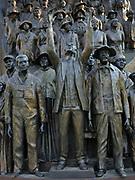 Texas African American History Memorial, detail of emancipated slaves, bronze sculpture by Ed Dwight, erected 2016 by the Texas African American History Memorial Foundation, in the grounds of the Texas State Capitol, containing the Texas Legislature and the Office of the Governor, designed in 1881 by Elijah E Myers and built 1882-88, Austin, Texas, USA. The sculpture depicts the history of African Americans in Texas from the 1500s onwards, including Hendrick Arnold, Barbara Jordan and Juneteenth (June 19th, 1865 when African Americans were freed from slavery in Texas). Picture by Manuel Cohen