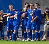 Photo: Richard Lane.<br />Croatia v England. UEFA European Championships 2008 Qualifying. 11/10/2006. <br />Croatia celebrate their first goal.