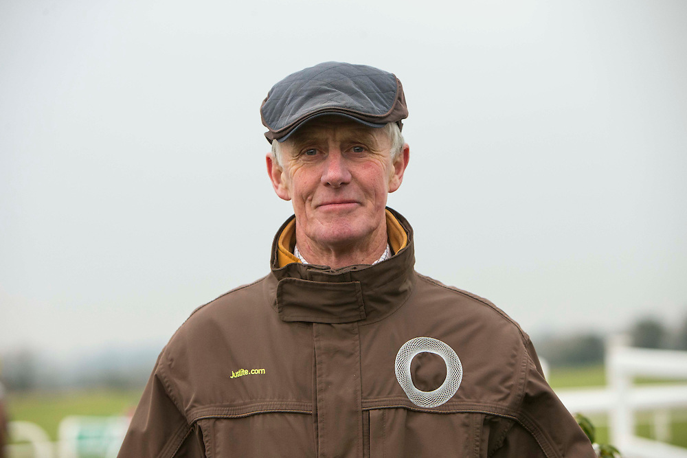 Navan Races, Saturday 27th February 2016.<br /> Trainer Jim Dreaper pictured in the parade ring before the start of the Garlow Cross handicap Hurdle<br /> Photo: David Mullen /www.cyberimages.net / 2016