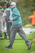 Philadelphia Eagles' former offensive coordinator, Pat Shurmur is off and running during his first practice as interim head coach after the firing of Chip Kelly on Wednesday 30 December 2015 at the Nova Care Center in Philadelphia, Pa. . Photograph  by Jim Graham