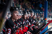 KELOWNA, CANADA - FEBRUARY 9: Aaron Boyd #23 of Prince George Cougars sits on the bench against the Kelowna Rockets on February 9, 2015 at Prospera Place in Kelowna, British Columbia, Canada.  (Photo by Marissa Baecker/Shoot the Breeze)  *** Local Caption *** Aaron Boyd;