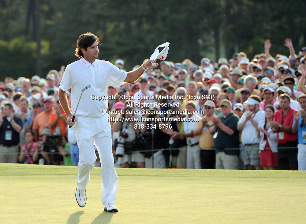 April 8, 2012 - Augusta, Georgia, U.S. - BUBBA WATSON acknowledges the crowd on 18 during Sunday's final round of the 2012 Masters Tournament at Augusta National Golf Club. Watson won his first major after a two-hole sudden-death playoff against Louis Oosthuizen