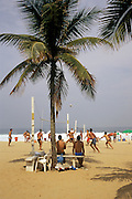 Fute Volle, volleball played without the hands, at Ipanema Beach, Rio de Janiero, Brazil.