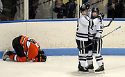 Ingalls Rink, Yale Univ. Princeton at Yale hockey, best of three ECAC game, third period: Princeton's Michael Sdao reacts to Yale's 6th goal by Brian O'Neill right into an unguarded net. O'Neill is congratulated by teammate Trent Ruffolo. Photo by Mara Lavitt/New Haven Register<br /> <br /> 3/4/12