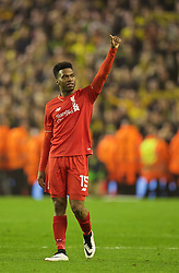 LIVERPOOL, ENGLAND - Thursday, April 14, 2016: Liverpool's Daniel Sturridge celebrates after the dramatic 4-3 (5-4 aggregate) victory over Borussia Dortmund during the UEFA Europa League Quarter-Final 2nd Leg match at Anfield. (Pic by David Rawcliffe/Propaganda)