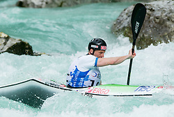 Nejc Znidarcic of Slovenia competes in 3 x K1 men at sprint teams race at European wildwater Canoeing Championships Soca 2013 on May 12, 2013 in Trnovo ob Soci, Soca river, Slovenia. (Photo By Vid Ponikvar / Sportida)