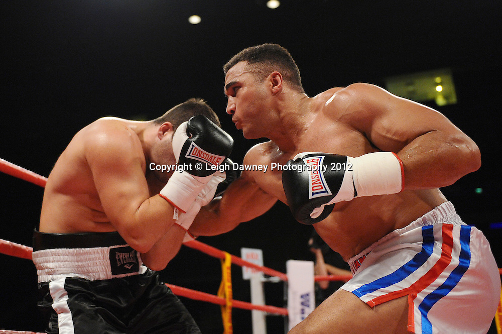Louis Cuddy defeats Joven Kaludjerovic in a Cruiserweight contest at the Echo Arena, Liverpool on 13th October 2012. Frank Maloney Promotions © Leigh Dawney Photography 2012.