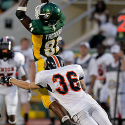 10 September 2009:  Southeastern Louisiana Lions wide receiver Kory Theodore (81) jumps for a reception during a game between Southeastern Louisiana University Lions and Union College at Strawberry Stadium in Hammond, Louisiana.