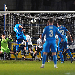 TELFORD COPYRIGHT MIKE SHERIDAN Leamington's James Mace fires over during the FA Trophy Round 1 fixture between AFC Telford United and Leamington at the New Bucks head Stadium on Tuesday, December 17, 2019.<br /> <br /> Picture credit: Mike Sheridan/Ultrapress<br /> <br /> MS201920-034