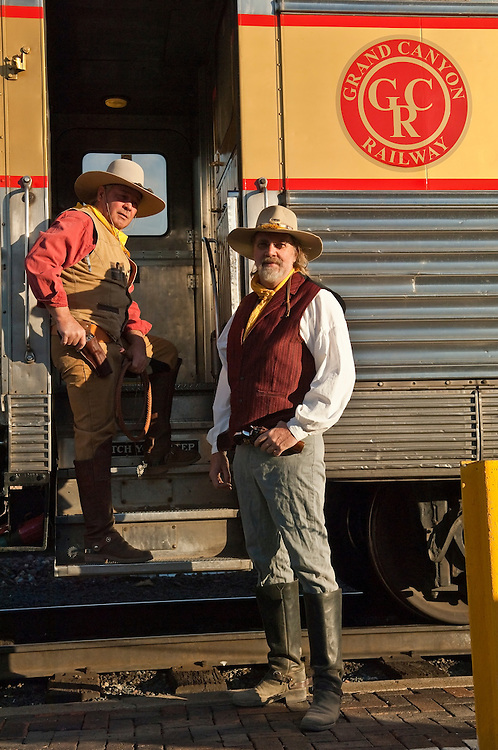 Cowboy entertainers with the Grand Canyon Railway at station in Williams, Arizona.
