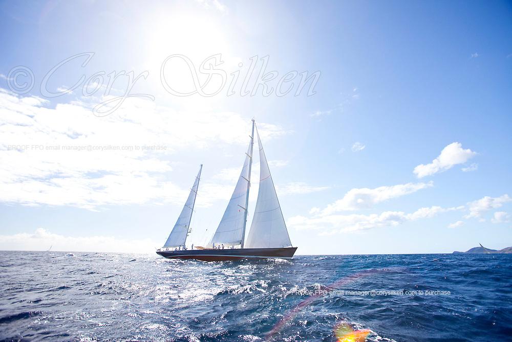 Rebecca sailing in The Superyacht Cup regatta, Antigua 2010, race one.