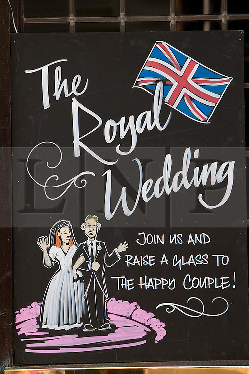 LONDON, UK  28/04/2011. The Royal Wedding of HRH Prince William to Kate Middleton. Royal Wedding sign outside a pub off Carnaby Street. Photo credit should read Bettina Strenske/LNP. Please see special instructions. © under licence to London News Pictures