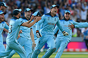 England Are World Champions - Jos Buttler of England celebrates after Martin Guptill of New Zealand is run out in the super over and England win the World Cup during the ICC Cricket World Cup 2019 Final match between New Zealand and England at Lord's Cricket Ground, St John's Wood, United Kingdom on 14 July 2019.