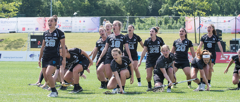 New Zealand perform the Haka at the 2017 FIL Rathbones Women's Lacrosse World Cup at Surrey Sports Park, Guilford, Surrey, UK, 15th July 2017