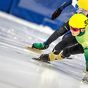 March 18, 2016 - Verona, WI - Justin Liu, skater number 58 competes in US Speedskating Short Track Age Group Nationals and AmCup Final held at the Verona Ice Arena.