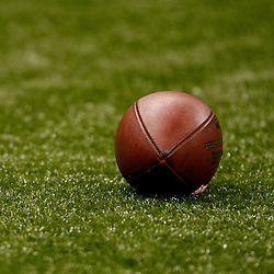 August 21, 2010; New Orleans, LA, USA; A football is seen on the field during warm ups prior to kickoff of a preseason game between the New Orleans Saints and the Houston Texans at the Louisiana Superdome. Mandatory Credit: Derick E. Hingle