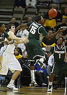 February 2 2011: Michigan State Spartans guard Durrell Summers (15) tries to grab the ball during the first half of an NCAA college basketball game at Carver-Hawkeye Arena in Iowa City, Iowa on February 2, 2011. Iowa defeated Michigan State 72-52.