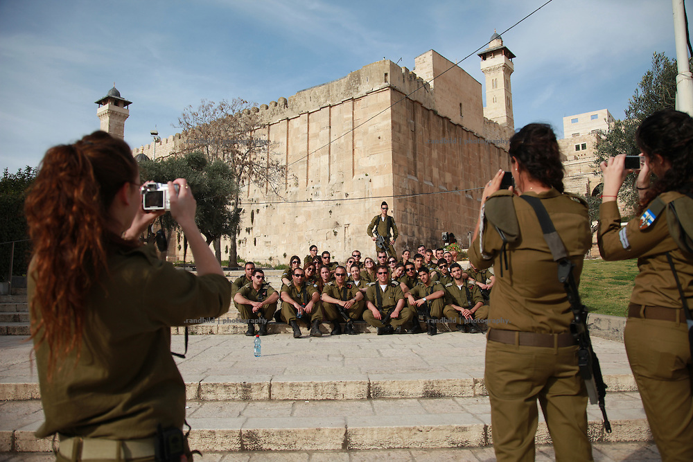 Soldiers in front of Ibrahimi Mosque, Hebron. Israel has recently announcement the site on a list of Israeli heritage sites, which provoked local and international protests.