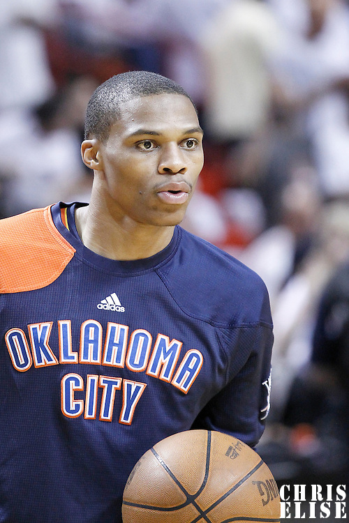 19 June 2012: Oklahoma City Thunder point guard Russell Westbrook (0) warms up prior to the Miami Heat 104-98 victory over the Oklahoma City Thunder, in Game 4 of the 2012 NBA Finals, at the AmericanAirlinesArena, Miami, Florida, USA.
