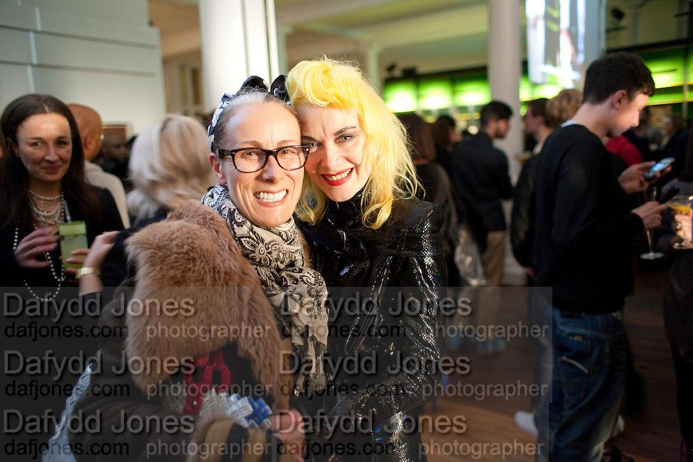CARYN FRANKLIN; PAM HOGG, 30 Years Of i-D - book launch. Q Book 5-8 Lower John Street, London . 4 November 2010. -DO NOT ARCHIVE-© Copyright Photograph by Dafydd Jones. 248 Clapham Rd. London SW9 0PZ. Tel 0207 820 0771. www.dafjones.com.