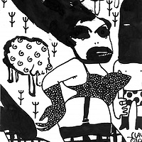 Illustration in pen and ink of woman in underwear with bad makeup